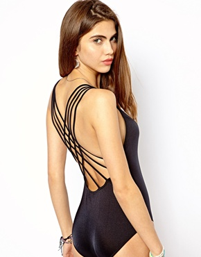 Seafolly | Seafolly Shimmer Lattice Back Maillot Swimsuit at ASOS