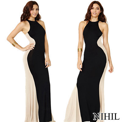 Halter Patchwork Bodycon Sexy Dress Long Maxi Black Evening Party Dresses Elegant Women Summer Dress 2014 New Plus Size Clothing-in Apparel & Accessories on Aliexpress.com