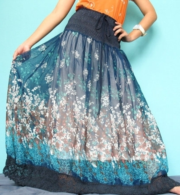 Maxi Skirts – Blue Beautiful New Chiffon Floral Long Maxi Skirt – a unique product by MyParadise on DaWanda