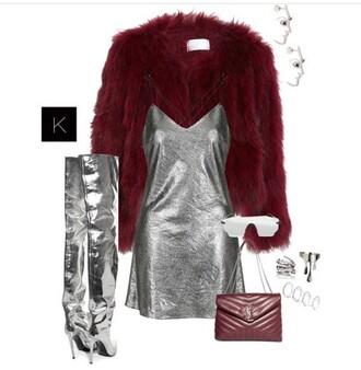 dress fur coat red dark red velvet velvet silver silver dress boots