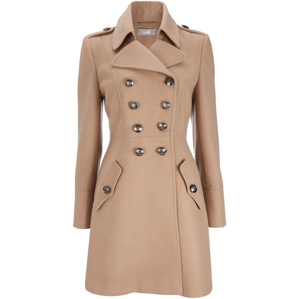 Camel Military Double Breasted Coat - Wallis - Polyvore
