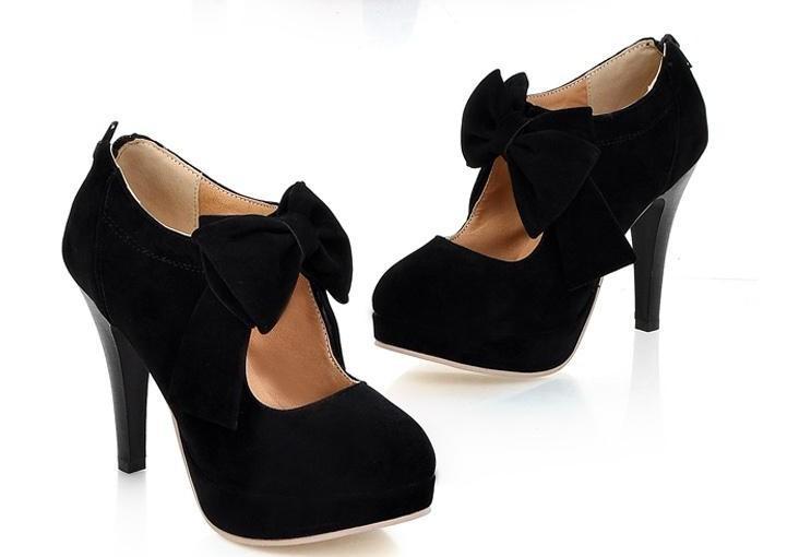 Hot New Fashion Women's Shoes Round Head Bowknot High Heels | eBay