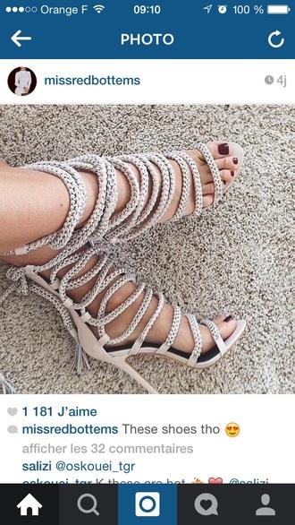 shoes rope nude heels sandals high heels