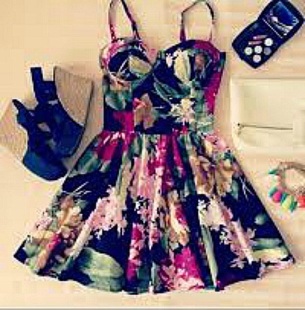 dress bustier floral colorful mini dress cute dress black fuchsia fuchsia dress