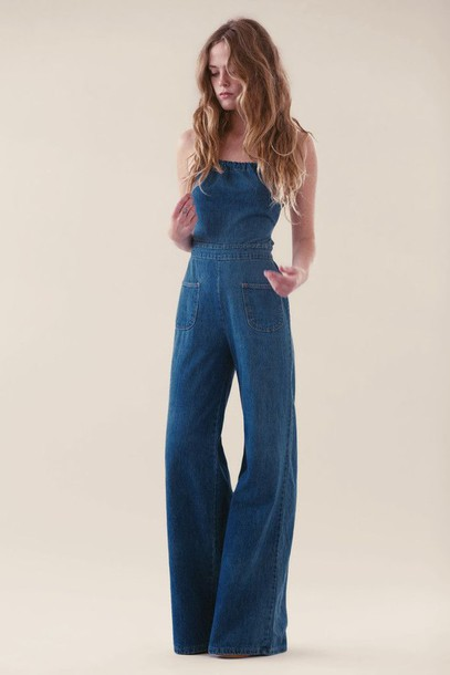 Flared Denim Jumpsuit