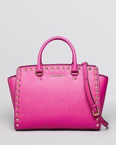 Authentic Michael Kors Selma Stud Large Satchel Pink Fuschia Gold | eBay