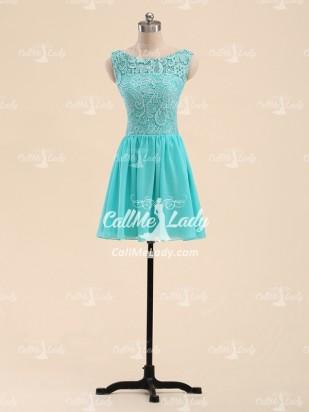 A-line scoop lace short party dresses/ bridesmaid dress - CallMeLady