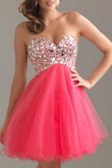 A-line Strapless Beaded Tulle Short Cocktail Dress On Sale - US$ 113.85