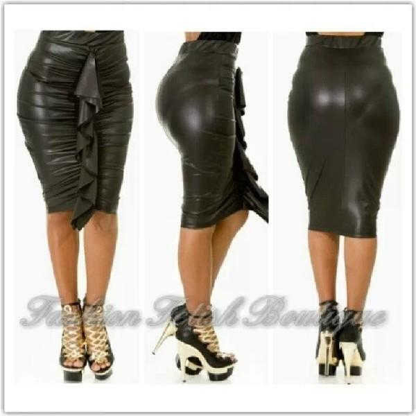 skirt black leather skirt