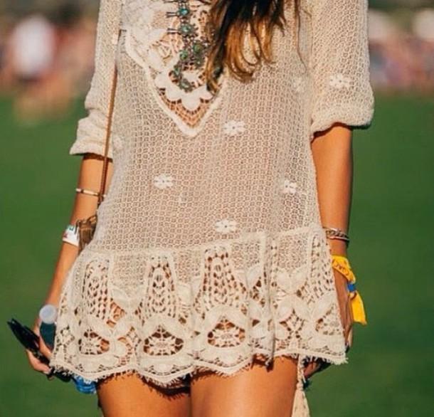 dress hippie flowers indie boho chic bohemian hippie dress lace dress woodstock coachella rave fashion