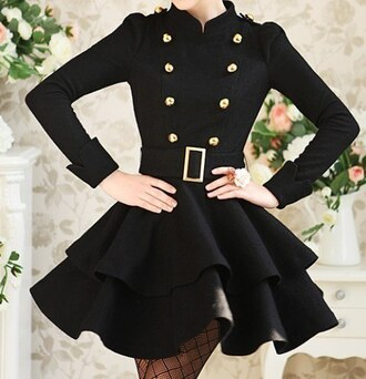 dress celebrity black dress black jacket belt gold buttons cute classy black and gold dressy little black dress button up casual coat flare buckles this exact girly trendsgal.com black coat korean fashion