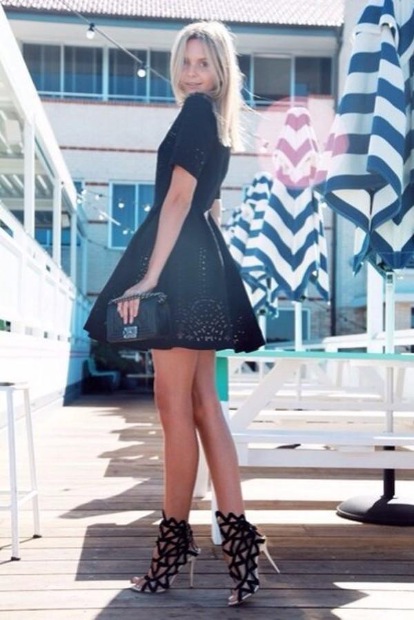 shoes black shoes geometric black stripes silver shoes high heels dress