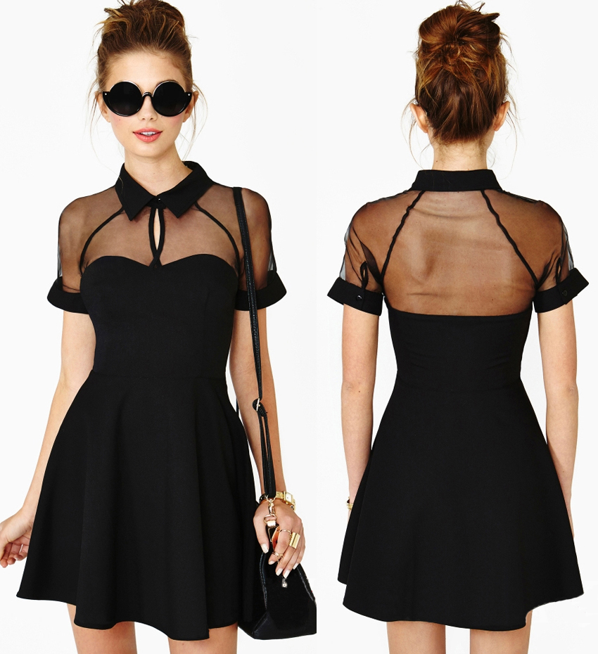 Sheer Panel Insert Sweetheart Skater Dress from Shinning on Storenvy