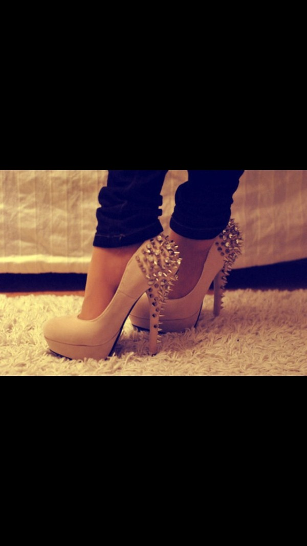 shoes spiked heels nude high heels spiked shoes heels studs