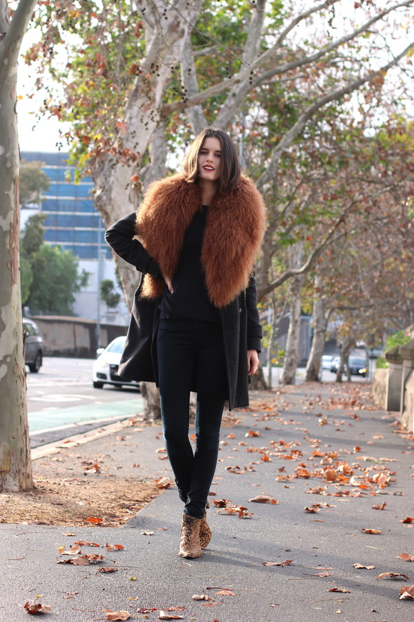 by chill coat sweater jeans shoes bag sunglasses