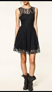 RARE Zara Navy Backless Lace Skater Dress s Small Sleeveless UK 8 10 | eBay