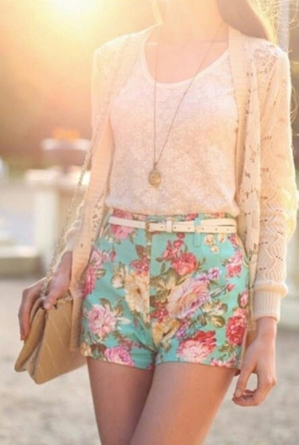 shorts blue shorts High waisted shorts flowered shorts floral high waisted shorts short shorts cardigan