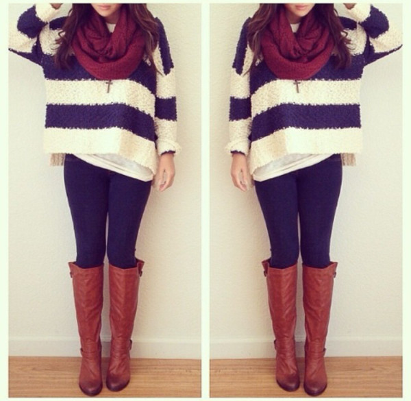 black leggings knee high boots black and white oversized cardigan oversized sweater infinity scarf