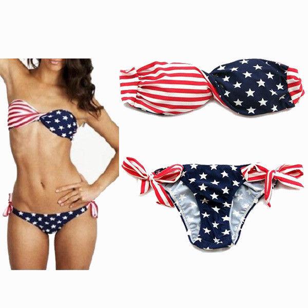 Stars and Stripes Padded Twisted Bandeau Bikini USA American Flag Swimwear s M L | eBay