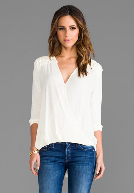 MICHAEL STARS Roll Sleeve Surplice Top in Vanilla at Revolve Clothing - Free Shipping!