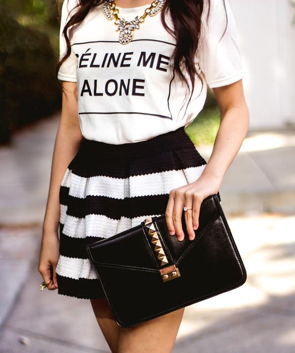 skirt romwe black stripes shirt