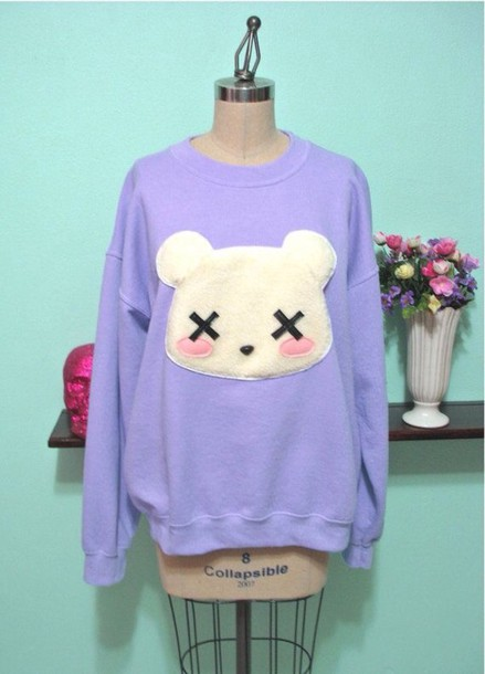 sweater pastel goth purple sweater cute sweater light purple purple kawaii bear