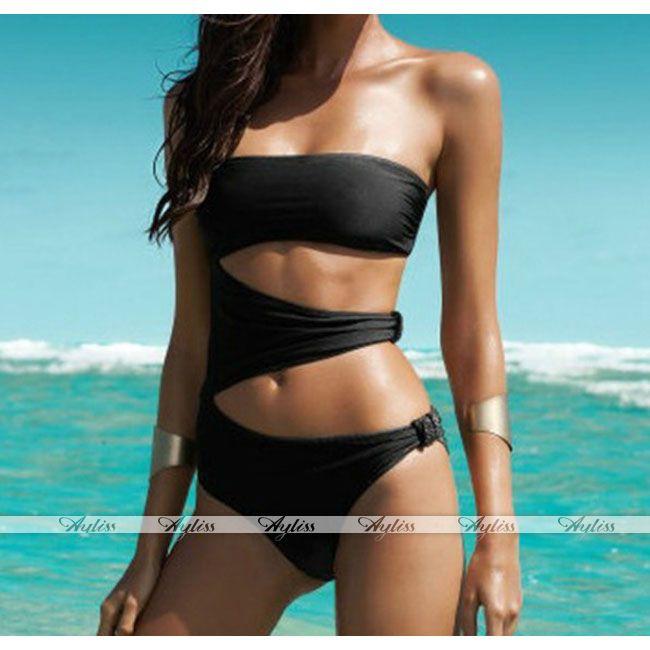 Schwarz cut out One-Piece blume Swimsuit Monokini Bikini sexy Badeanzug Padded | eBay