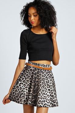 Kira Leopard Print Belted Skater Skirt at boohoo.com
