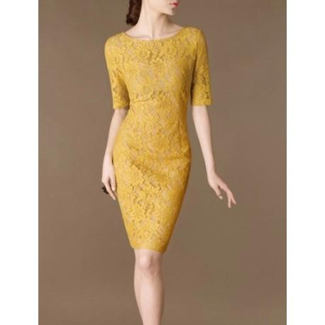 Yellow Lace Elegant Noble Summer OL Slim Women Fashion Dress lml7029 - ott-123 - Global Online Shopping for Dresses
