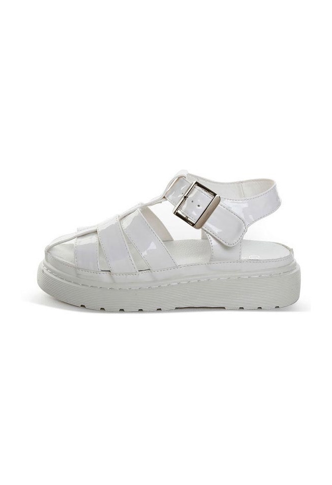 ALISONSMAN - Chunky White Cutout Sandals