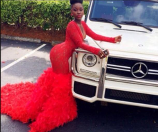 dress red dress mermaid prom dress lace dress