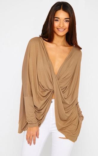 blouse caramel twist top top wrap pretty little thing white jeans