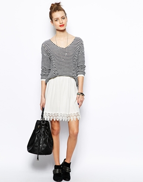 New Look | New Look Crochet Hem Skater Skirt at ASOS
