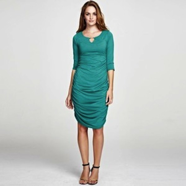 dress teal turquoise aqua three-quarter sleeves knee-length dress scoop neck ruched gathered