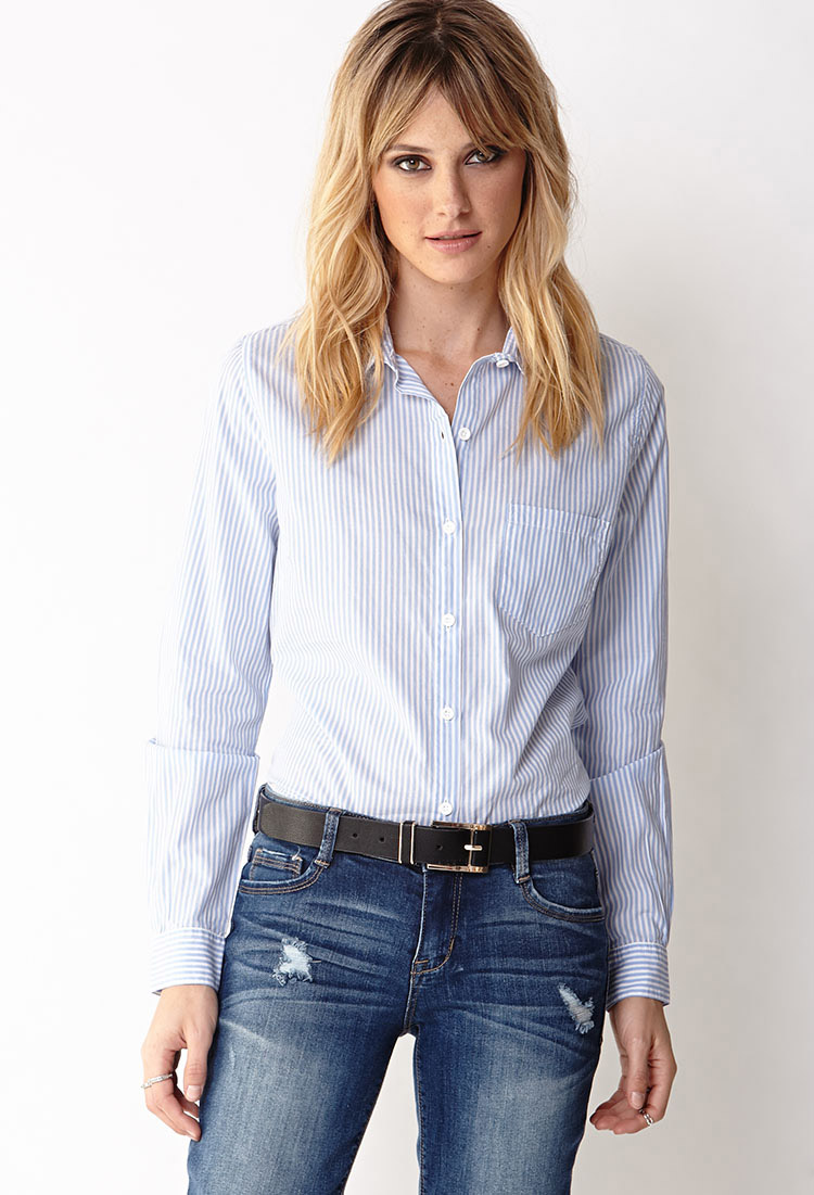 Essential Striped Button-Down   FOREVER21 - 2028484530