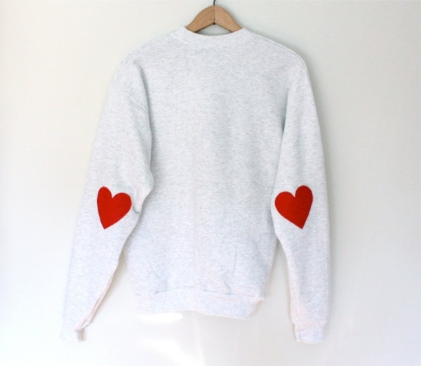 sweater elbow patches patch knitwear grey sweater heart