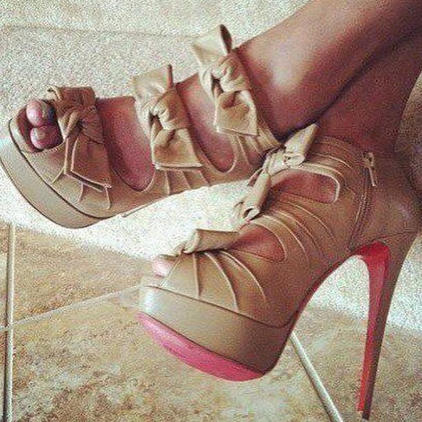 shoes high heels bow high heels ankle strap heels tan heels heels stilletoes summer heels