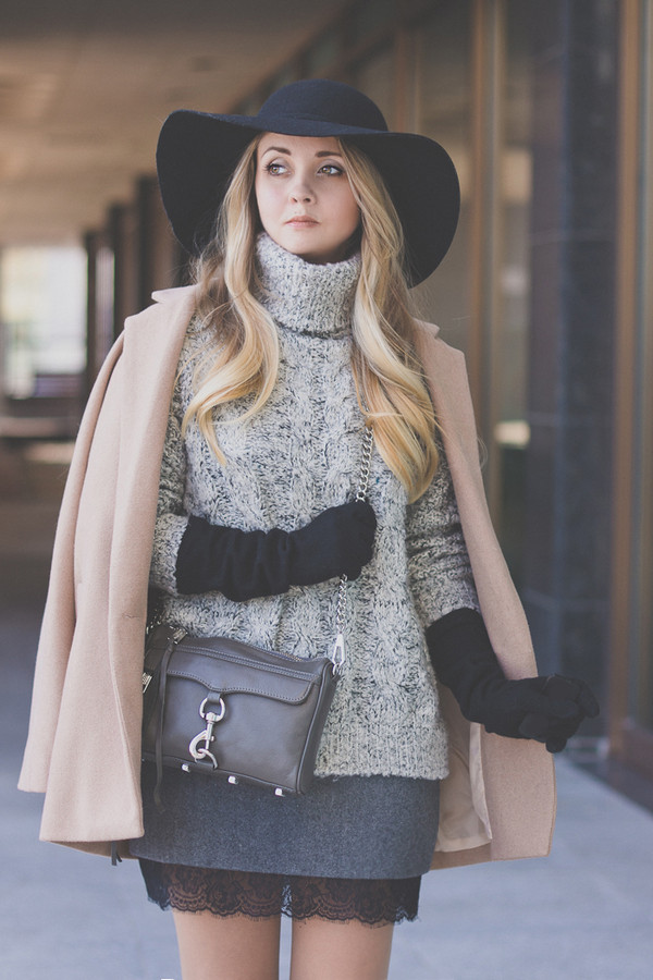 my blonde gal skirt bag coat sweater jewels hat