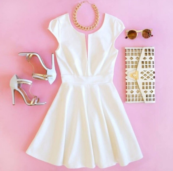 dress white dress white summer summer dress bag outfit