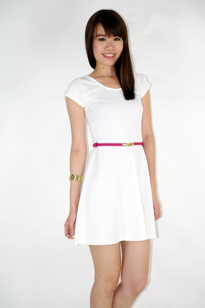 Textured Basic Skater Dress - White   Jasmoda