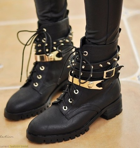 Free Shipping,Punk Metal Buckle Strap #651 Gold Color Studded Lace Up Ankle Motorcycle Boots,US 5 8.5,Womens/Ladies Shoes-in Boots from Shoes on Aliexpress.com