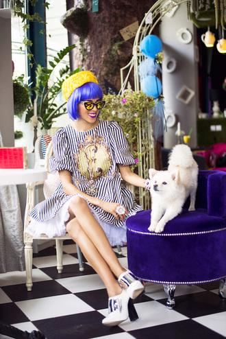 macademian girl blogger cat eye striped dress hat dress jewels shoes sunglasses bag
