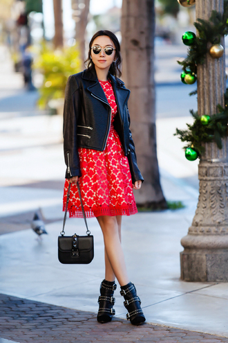fit fab fun mom blogger dress jacket shoes bag sunglasses jewels red dress red lace dress shoulder bag black jacket boots ankle boots winter outfits