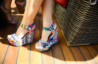 shoes aztec wedges navajo aztec design bows light blue high heels colorful aztec shoes summer shoes
