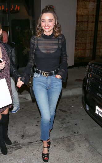 top mesh mesh top turtleneck jeans sandals miranda kerr model off-duty