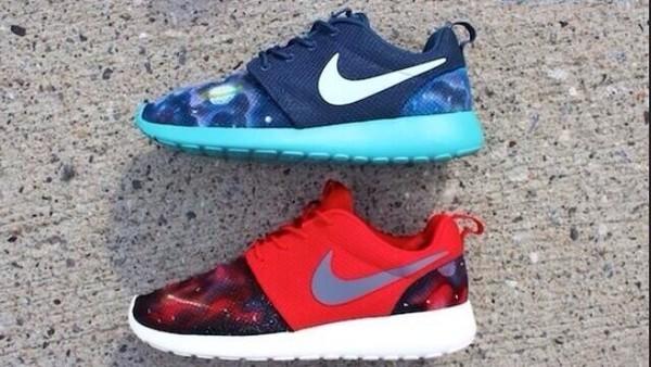 shoes nike roshe run light blue red nike nike running shoes roshe runs galaxy print