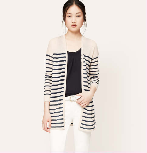 Striped Sheer Open Cardigan | Loft