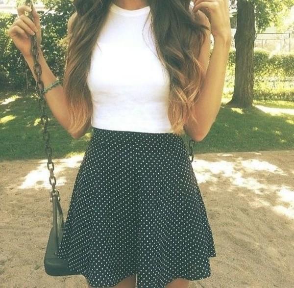 skirt shirt polka dots tumblr