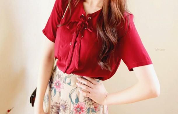 top short sleeve red silk skirt