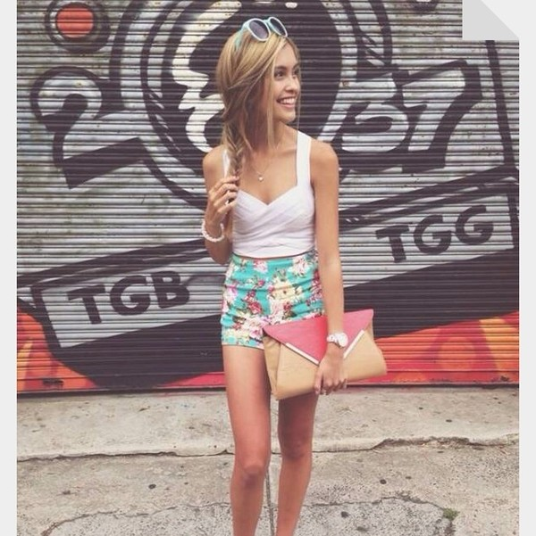 tank top white hipster cute shorts